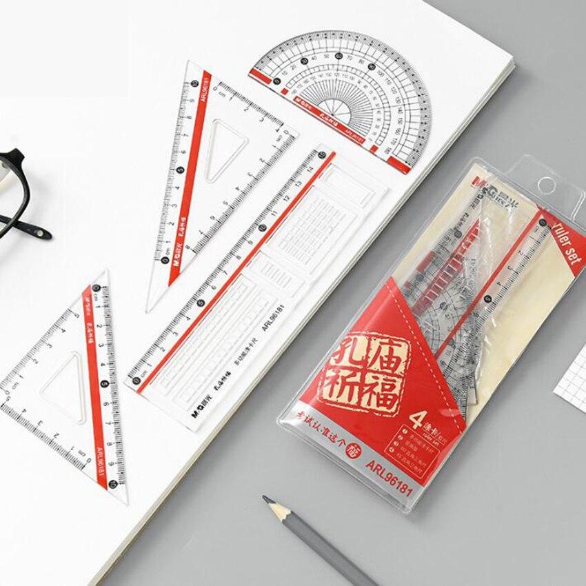 4pcs/set 2018 Direct Selling Rushed Triangular Ruler Spirograph 4 Pcs School Maths Set Plastic Protractor Square Ruler