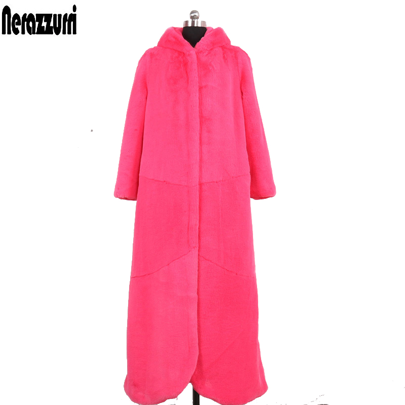 Nerazzurri Extra long faux fur coat women with hood thicken warm fluffy fake rex rabbit fur