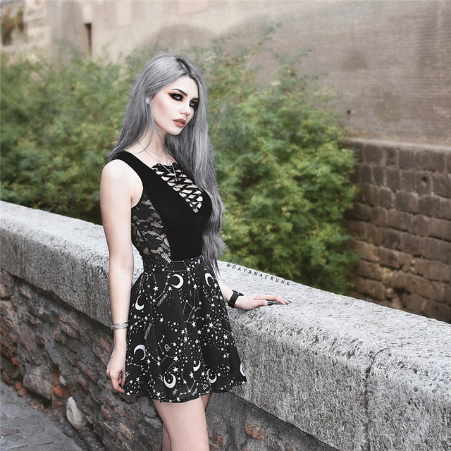 InstaHot Star Printed Pleated Gothic Skirts Women High Waist Punk Black Mini Skirts Constellation Rock Moon Sexy Club Outfits 3