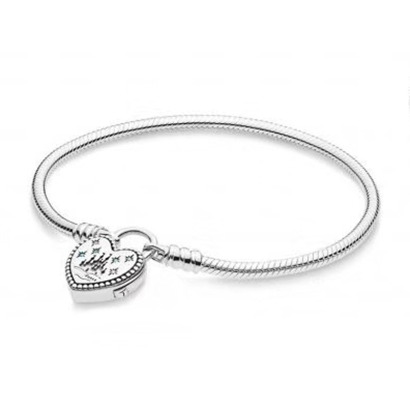 NEW 100% 925 Sterling Silver Original Classic Logo Lovely Park Charm Lock Basic Bracelet with Signature Padlock DIY Bead GiftNEW 100% 925 Sterling Silver Original Classic Logo Lovely Park Charm Lock Basic Bracelet with Signature Padlock DIY Bead Gift