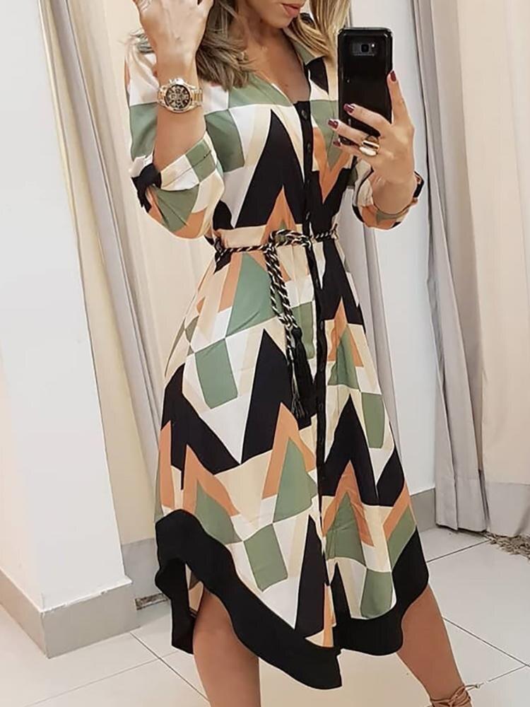 2019 Summer Women Elegant Vacation Stylish Leisure Dress Female Slimming Colorblocked Geo Print Asymmetrical Casual Dress