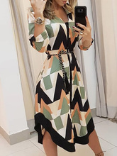 цены на 2019 Summer Women Elegant Vacation Stylish Leisure Dress Female Slimming Colorblocked Geo Print Asymmetrical Casual Dress  в интернет-магазинах