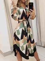 2020 sommer Frauen Elegante Urlaub Stilvollen Freizeit Kleid Weibliche Abnehmen Colorblocked Geo Druck Asymmetrische Casual Kleid