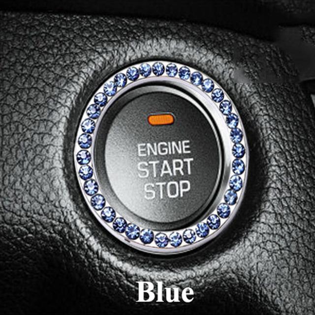 1pc SEEYULE Fashion Beautiful Replica Crystal Car Engine Start/Stop Button Decoration Ornament Car Accessories for Women Girl