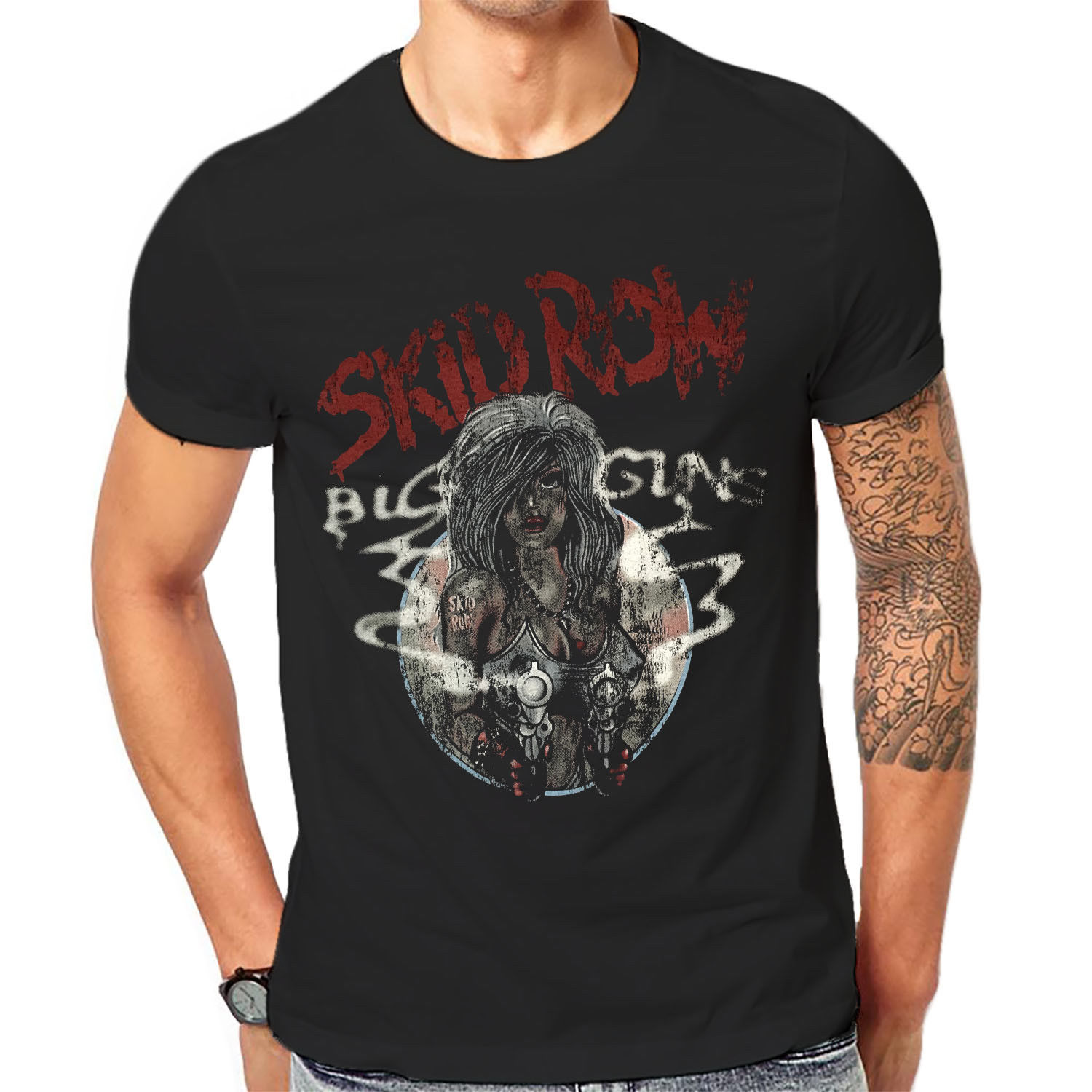 <font><b>Skid</b></font> <font><b>Row</b></font> <font><b>T</b></font> <font><b>Shirt</b></font> Cool Retro Black Old Band Classic Rock Band Tee <font><b>Shirts</b></font> 1-A-099 Print <font><b>T</b></font>-<font><b>Shirts</b></font> Men image