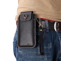 Wrist Hanging Men Genuine Leather Case Mobile Phone Waist Bag Wear Belt Verticle Waist Bag for Samsung Galaxy A80 A70 A50 A40