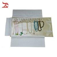 Mới Có Thể Gập Lại Màu Be Mặt Dây Chuyền Travel Cuốn Bag 16 Cái Bead Chain Organizer Hiển Thị Pouch Necklace Bracelet Bao Bì Quà Tặng Cuốn Túi