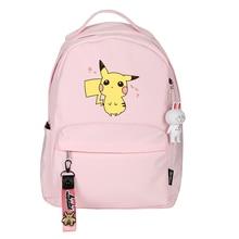 Pocket Monsters Kawaii Pikachu Printing Backpack Women Cute Cartoon School Daypack Pink Travel Backpack
