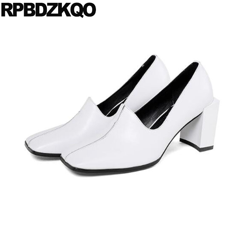 Nude Thick Court 3 Inch Square Toe 2018 Size 4 34 White High Quality Pumps Genuine Leather Ladies Formal Shoes Heels Famous купить дешево онлайн