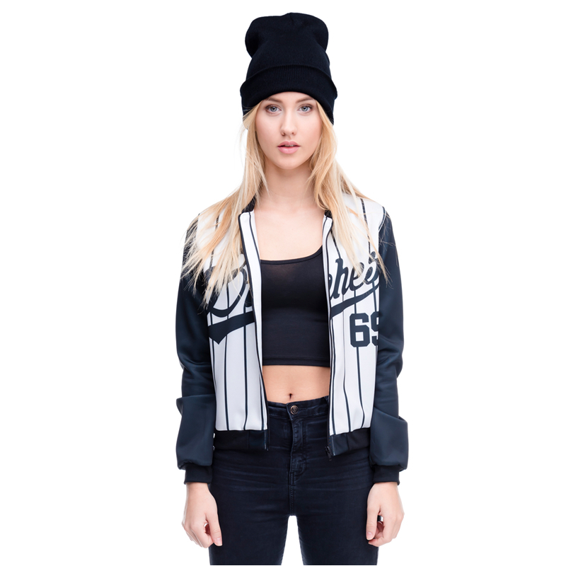 High Quality Women Bomber Jacket Fashion 3D Printed Black and White Short Jacket Outwear Coats Youths Basic Jackets