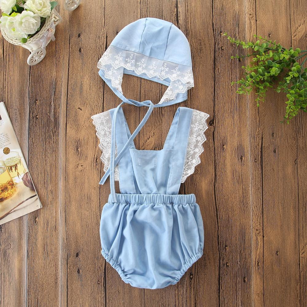 Cute Baby Girl Lace Solid Color Romper+hat  Jumpsuit Outfits Sunsuit For Newborn Infant Children Clothes Kid Backless Clothing