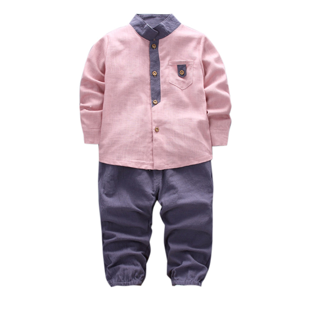 TELOTUNY 2pcs Toddler Baby Boys Kids Shirt Tops+Long Pants Clothes Gentleman Outfits Set dec26