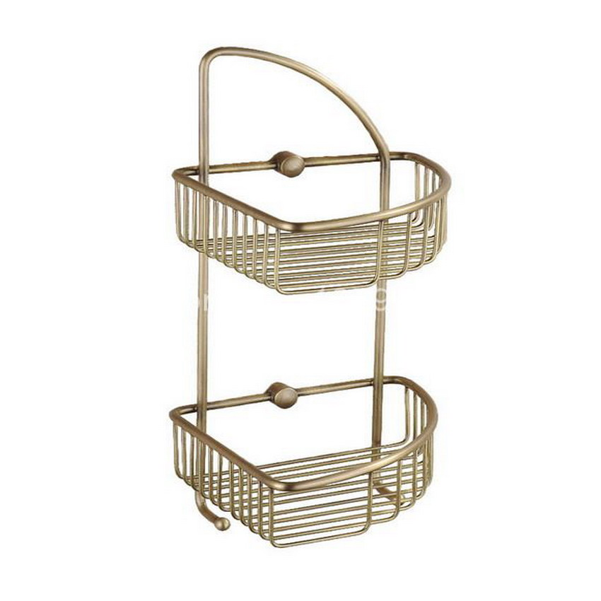 Antique Brass Wall Mounted Bathroom  Dual Layer Large Corner Shower Storage Basket aba055 oil rubbed bronze wall mounted large corner dual layer shower storage basket and robe hook aba067