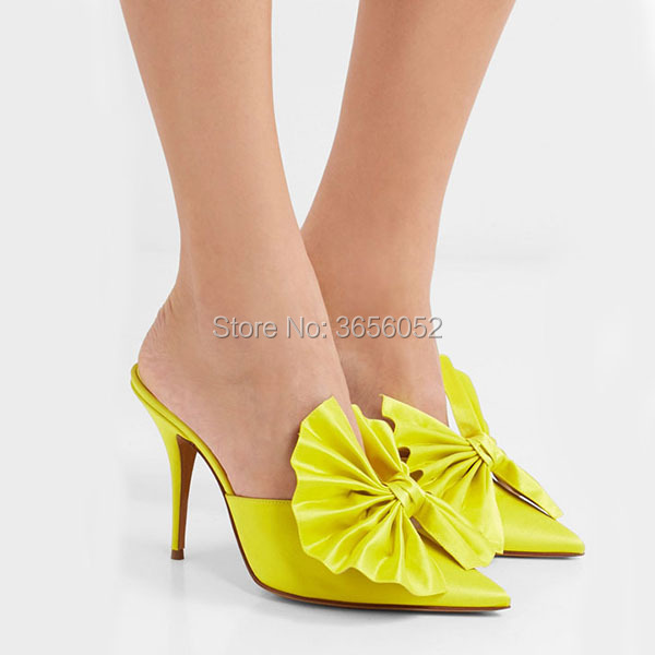 Qianruiti Brand Silk Butterfly Knot Slides Ladies Outdoor Slippers Sexy  Pointed Toe Stiletto Heels Women Slip On High Heel Mules-in Women s Pumps  from Shoes ... 137e1b18f26f