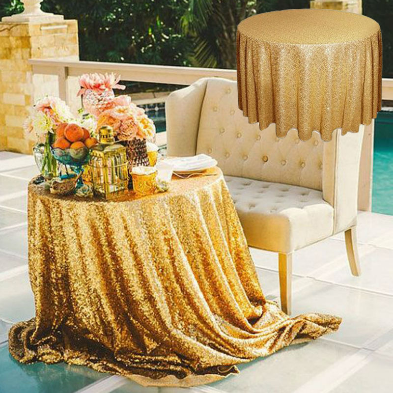 72u0027u0027 Gold Sequin Tablecloth Round Table Cloth Wedding Table Cover Event  Party Banquet Polyester