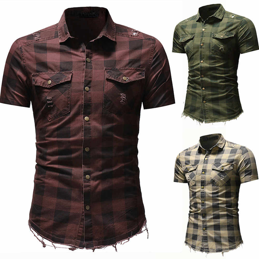 Zomer mannen Shirt Casual mannen Slim Fit Button Plaid Casual Tops Mannen Met Pocket Korte Mouwen Tops Blouse Shirt