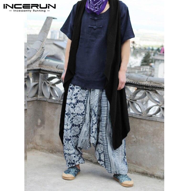 Summer Men's Sleeveless Cardigan X-Long   Trench   100%Cotton Hiphop Coat Jackets Outwear Vest Cloak Hombre Irregular Hem Tops Solid