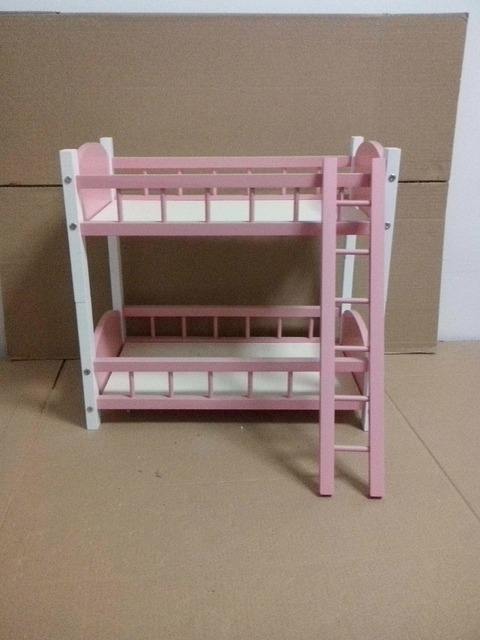 [wamami] 87# Pink Wood Bed/ Bunk Bed Frame Double-decker For 1/3 BJD SD AOD DOD Dollife
