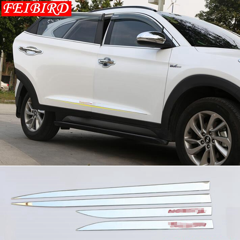 Image 3 - Accessories For Hyundai Tucson 2016 2017 2018 4PCS Side Door Molding Body Strip Streamer Protection Lid Molding Cover Kit Trim-in Chromium Styling from Automobiles & Motorcycles