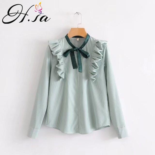 141b3a0ff H.SA Women Fashion Korean Blosa Shirts Bow Tie Ruffles Chiffon Blouses Long  Sleeve Loose Shirts Spring Summer Girls camiseta Top