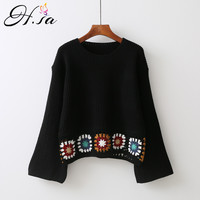 H SA Women Spring Loose Knitted Pullover And Jumpers Oneck Casual Embroidery Sweaters Pull Femme Retro
