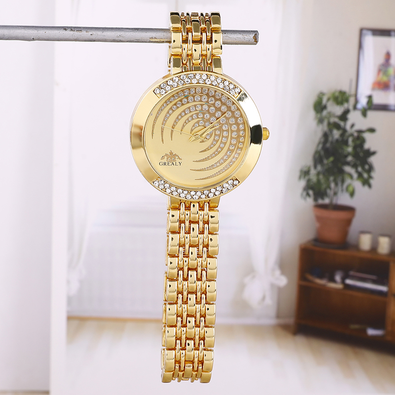 Diamond Fashion Female Ladies Moon Watches Luxury Gold Quartz Women Famous Rhinestone Watches Relojes Mujer Montre Femme in Women 39 s Watches from Watches