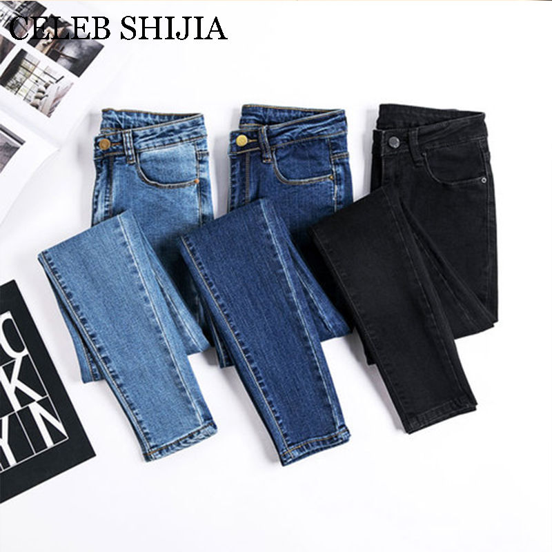 2019 Jeans Female Denim Pants Blue Color Skinny High Elastic Soft Korean Fashion Womans Pencil Pants Donna Summer Autumn
