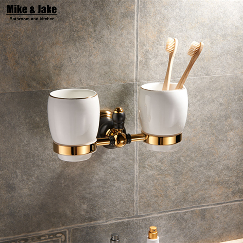 Luxury gold brass double teeth cup kit gold Double tumbler cup holder toothbrush holder bathroom accessory toilet cup holder kit auswind luxury gold solid brass round base toothbrush holder antique plated double tumbler ceramic cup bathroom accessories