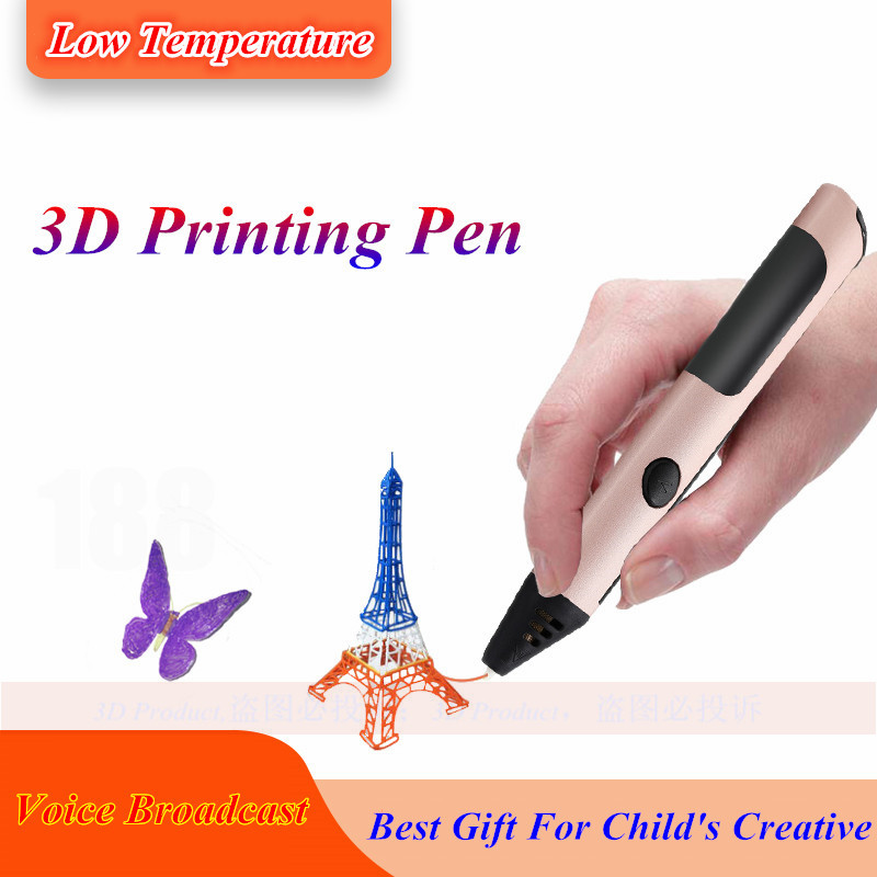 все цены на High Quality 3D Pen With Voice Broadcast For Children's Christmas Present Low Temperature 3D Pen 3 D Pens,1.75mm PCL Filament онлайн