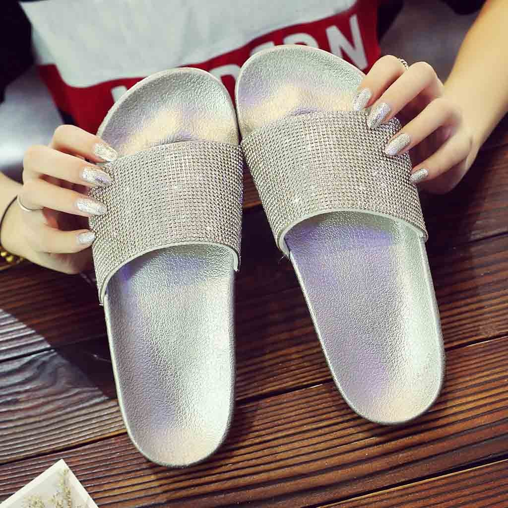 SAGACE Shoes Slippers Womens Flat Sliders Sandals Diamante Sparkly Colorful Diamond Crystal Fashion New Shoes Woman 2018dec28