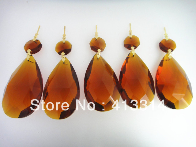 10PCS 63MM CRYSTAL PRISMS LOT DROP GLASS FOR CHANDELIER LAMP AMBER COLOR