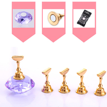 1Pc Magnetic False Nail display Stand with 5Bases Training Display Acrylic Crystal  DIY Manicure Tools