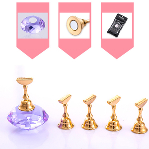 1Pc Magnetic False Nail display Stand with 5Bases Magnetic Stand Training Display Acrylic Crystal  DIY Manicure Tools