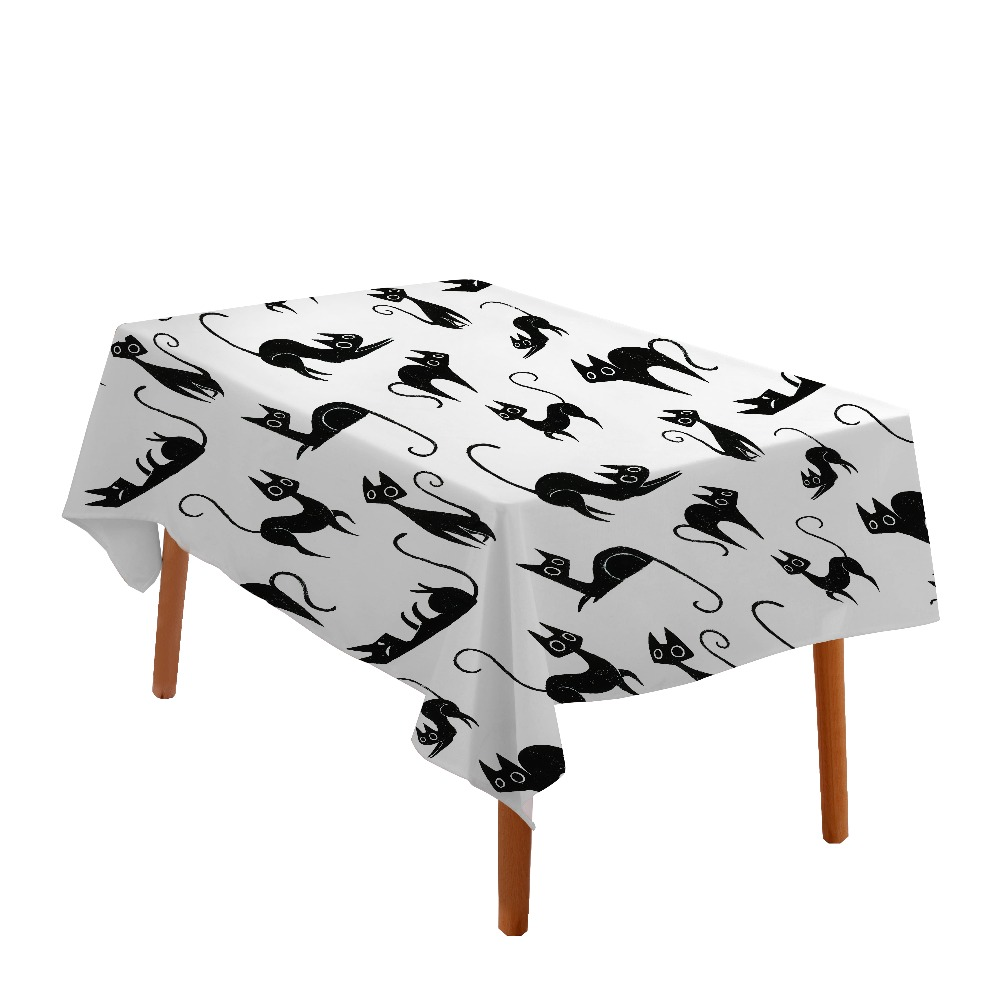 Waterproof Spill Proof Black Cat Table Cloth