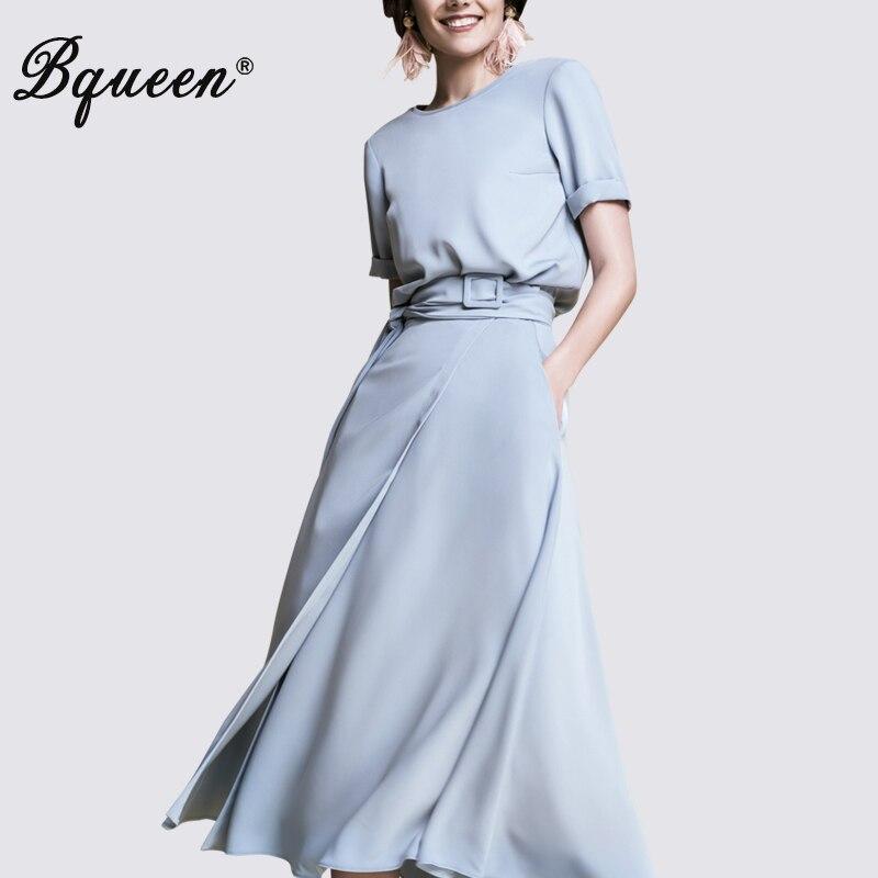 Bqueen femmes mode tenue décontractée nouveau chaud mi-mollet a-ligne robe d'été Vestidos 2019