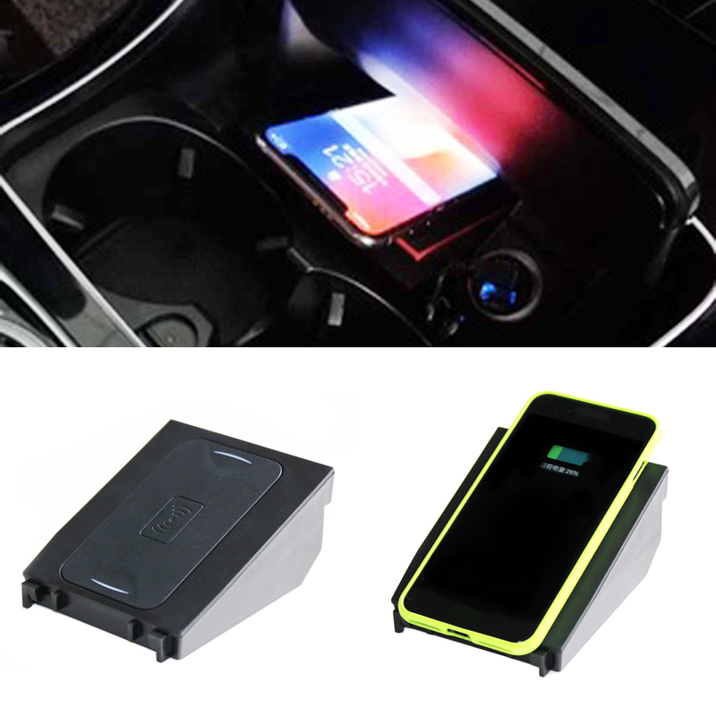For Mercedes Benz C GLC Class W205 GLC260 car wireless charger for iPhone X 8 Plus for Samsung with mount QI wireless charging