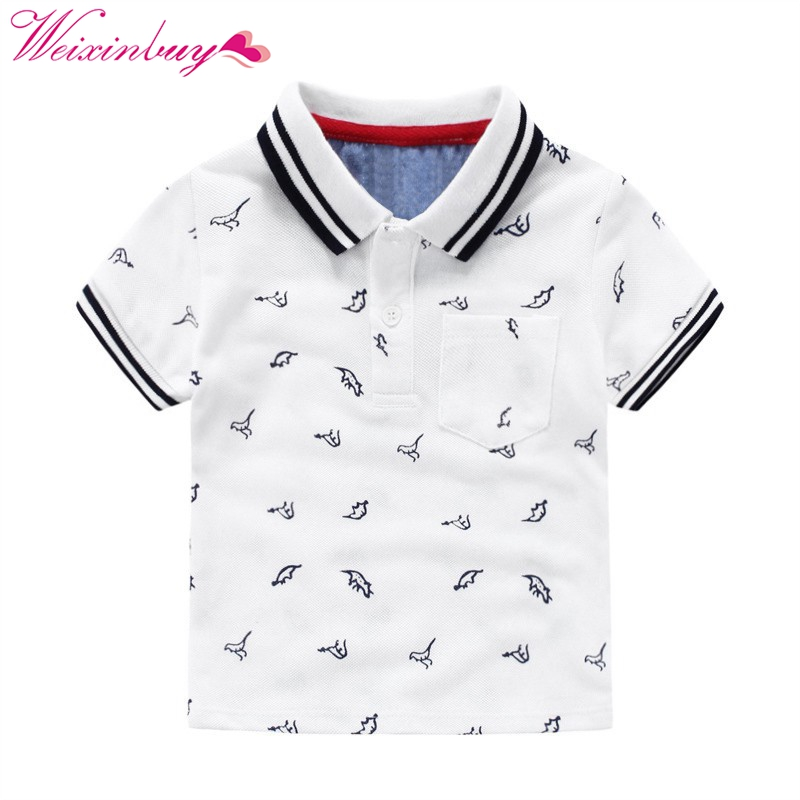 Summer Boys T-shirts Cotton Kids Tops Sports Tee Turn-down Collar Polo Shirts 2-7Y