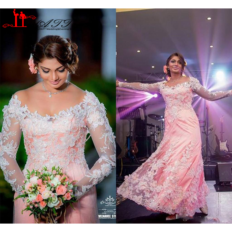 Indian pink wedding dress long sleeves off shoulder for Long sleeve indian wedding dresses