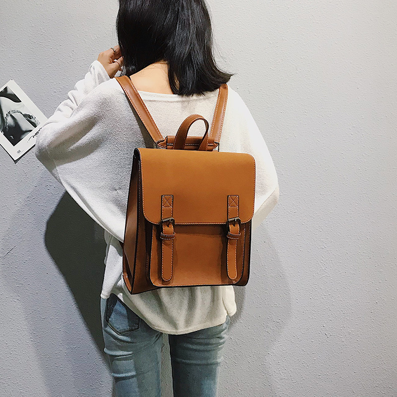 HTB1RYJqXUjrK1RkHFNRq6ySvpXaQ Fashion 2 PCS/SET Leather Women Backpacks for Teenagers female Back Pack Large Capacity Pu Travelling Bags Vintage school bag