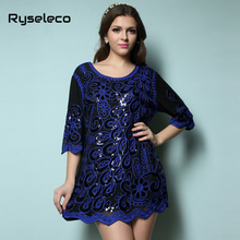 Hot Female Women 2016 Spring Style Brand New Fashion Loose Ultra Large Black Geometric Embroidery Sequined Mesh Short Dresses