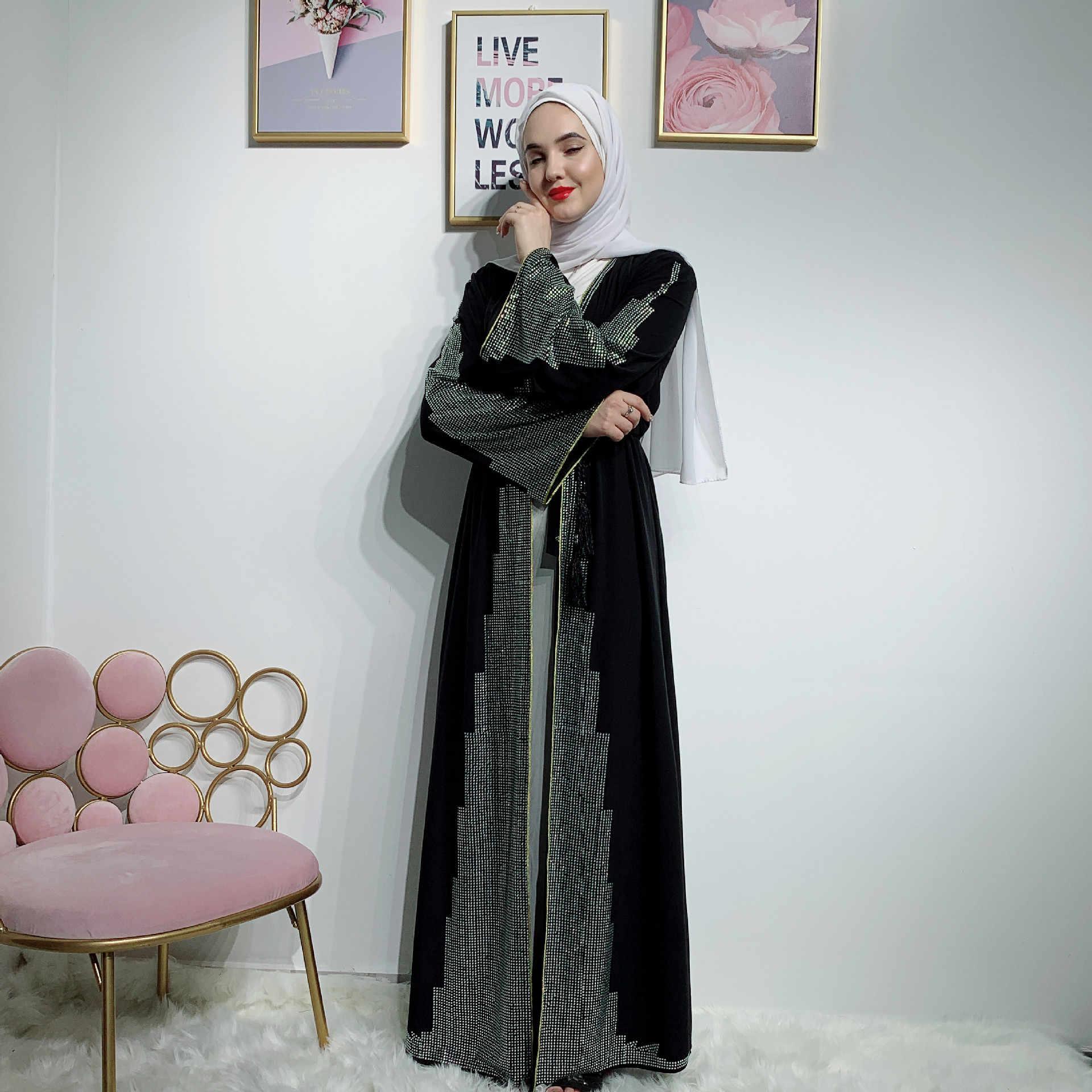 Luxury Palace Muslim Abaya Dress Cardigan Diamond Elegant Kimono Long Robe Gowns Jubah Vestidos Middle East Eid Ramadan Islamic