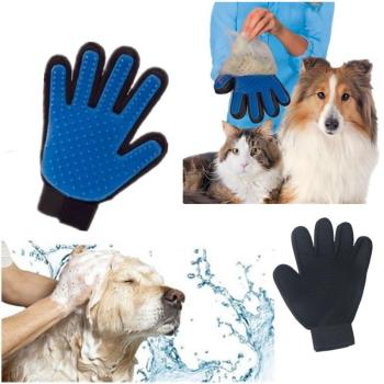 Product Silicone True Touch Glove Deshedding Gentle Efficient Pet Grooming Dogs Bath Pet Supplies Blue