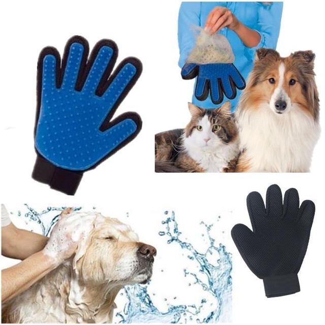 Sản phẩm Silicone Thật cho Cảm Ứng Găng Tay Deshedding Nhẹ Nhàng Hiệu Quả Pet Grooming Chó Tắm Pet Nguồn Cung Cấp Màu Xanh