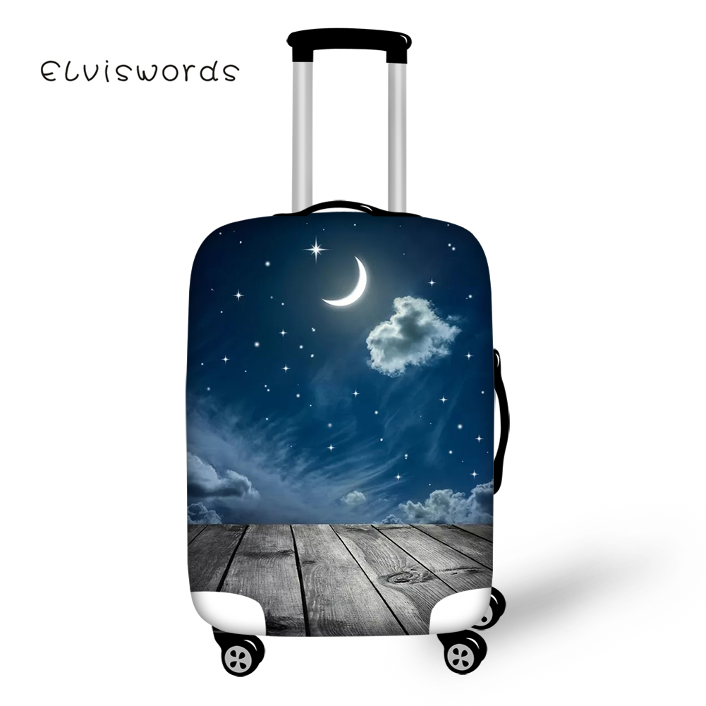 ELVISWORDS Travel Luggage Cover Romantic Starry Moon Printed For Suitcase Protective Cover Elastic Stretch To 18''-30'' Case New