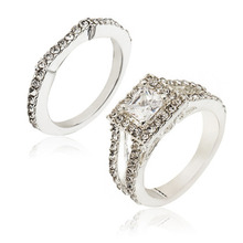 Couple Two-piece Big Zircon Ring Wedding Set Shiny Perfect Cubic Round Cut Rings Female Party Jewelry Gift WD16