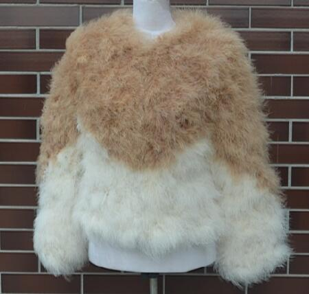 Ostrich feathers stitch fur coat short coat long sleeve Ostrich turkey fur wool coat feather fur jacket