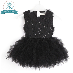 Image 1 - Baby Girl Tutu Dress Costume For Kids Sleeveless Christening Tulle Sequined Wedding Party Princess Toddler Clothes