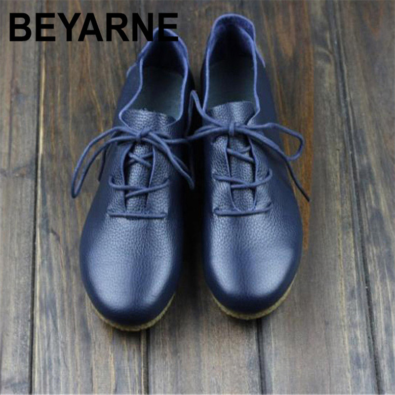 BEYARNE  Women's Flat Shoes Genuine Leather Casual Lace Up Shoes Round toe Female Footwear Slip Resistant Rubber sole front lace up casual ankle boots autumn vintage brown new booties flat genuine leather suede shoes round toe fall female fashion
