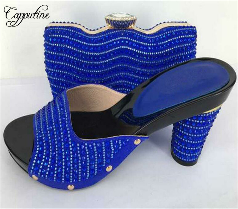 цены Capputine African Style Women Shoes With Matching Bag Set Latest Italian Slipper Shoes And Evening Bag For Party Free Shipping