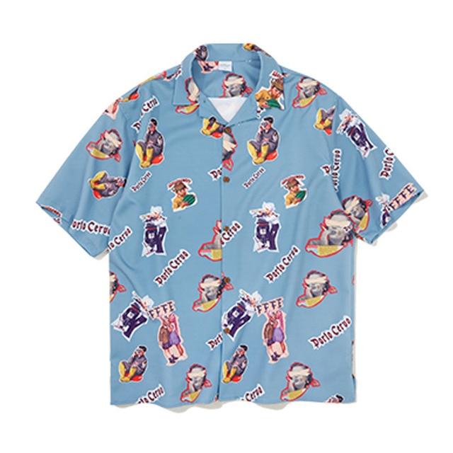 dc8c1ae251 Mens Fashion Shirt 2019 Spring Summer Short Sleeve Hawaiian Print Beach  Shirts Loose Fit oversized Hip Hop Shirt Streetwear